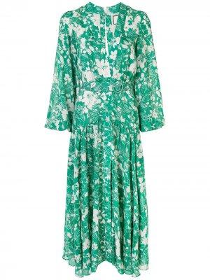 Платье миди с цветочным принтом Alexis. Цвет: зеленый