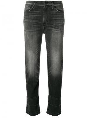 Укороченные джинсы с потертой отделкой Hudson. Цвет: черный