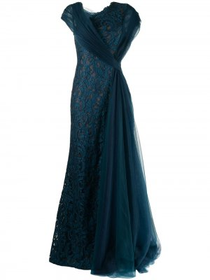 Платье Eslem с драпировкой Tadashi Shoji. Цвет: синий