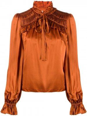 Блузка Birdie с оборками Temperley London. Цвет: оранжевый