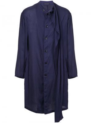 Пальто свободного кроя Yohji Yamamoto. Цвет: синий