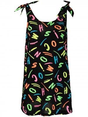 Пляжное платье с логотипом Moschino. Цвет: черный