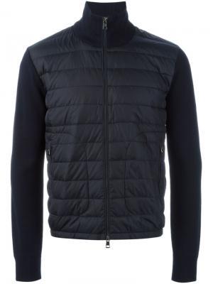 Куртка с вязаными рукавами Moncler. Цвет: синий