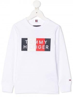 Толстовка с круглым вырезом и логотипом Tommy Hilfiger Junior. Цвет: белый