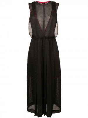 Платье-миди с прозрачной панелью Victoria Beckham. Цвет: черный