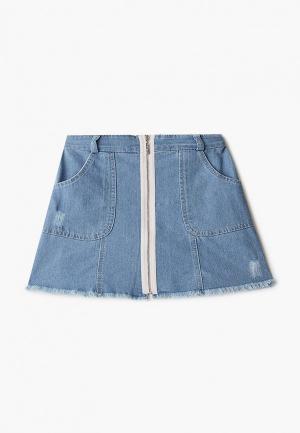 Юбка джинсовая Choupette. Цвет: синий
