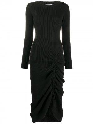 Трикотажное платье в рубчик Preen By Thornton Bregazzi. Цвет: черный
