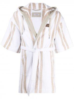 Короткий халат в полоску Brunello Cucinelli. Цвет: нейтральные цвета
