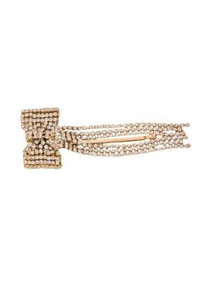 Заколка для волос в форме банта с кристаллами Rosantica. Цвет: золотистый