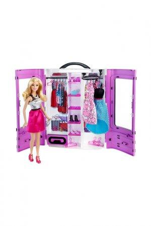 Шкаф  с куклой, одеждой Barbie. Цвет: бордовый