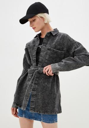Рубашка джинсовая Noisy May. Цвет: серый