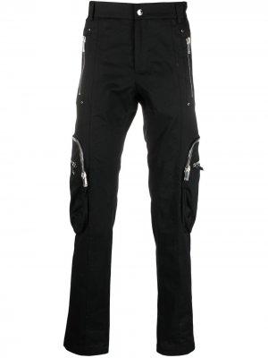 Узкие брюки карго Les Hommes. Цвет: черный