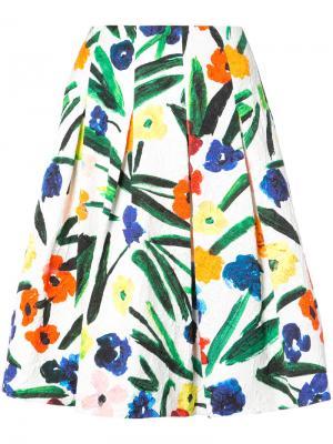 Пышная юбка с цветочным принтом Oscar de la Renta. Цвет: белый