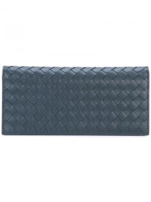 Удлиненный кошелек с плетеной отделкой Bottega Veneta. Цвет: синий