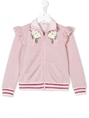 Спортивная куртка с цветочной вышивкой Monnalisa. Цвет: розовый