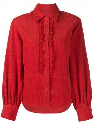 Вельветовая рубашка с оборками pushBUTTON. Цвет: красный