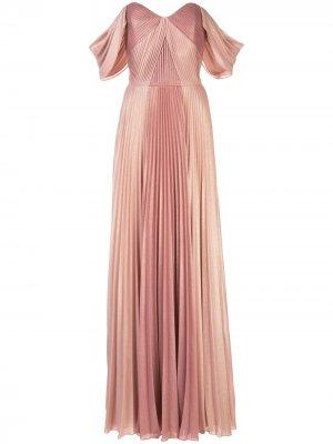 Плиссированное вечернее платье на одно плечо Marchesa Notte. Цвет: розовый