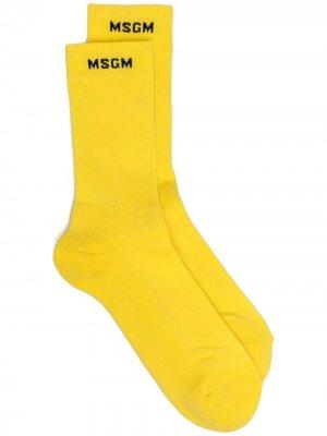 Трикотажные носки с логотипом MSGM. Цвет: желтый