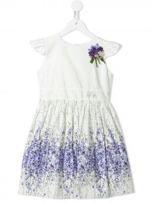 Платье с цветочным принтом и логотипом Lesy. Цвет: белый
