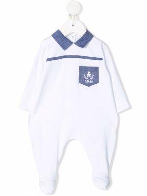 Ромпер с длинными рукавами и нашивкой-логотипом Le Bebé Enfant. Цвет: белый