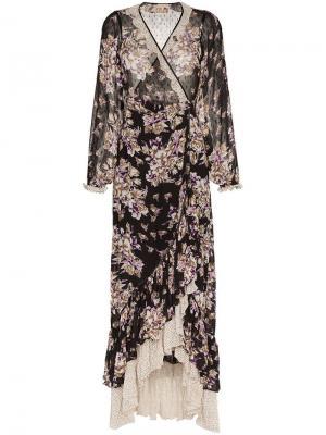 Платье с запахом и цветочным принтом By Timo. Цвет: черный