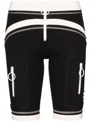 Двухцветные облегающие шорты Off-White. Цвет: черный