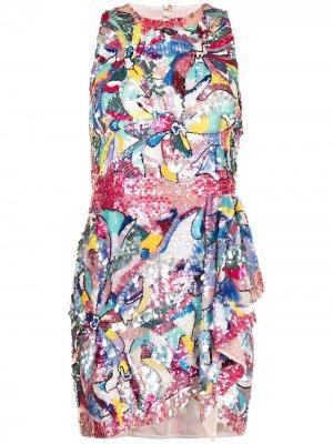 Платье мини с пайетками Zuhair Murad. Цвет: синий