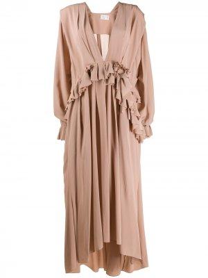 Длинное платье с оборками Victoria Beckham. Цвет: розовый