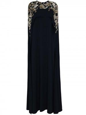 Декорированное вечернее платье Oscar de la Renta. Цвет: синий