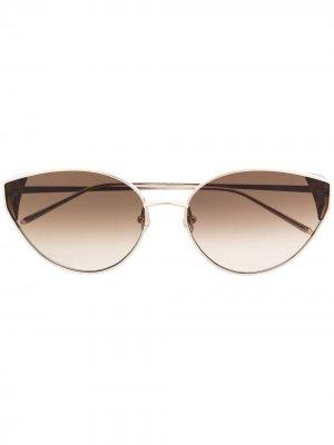 Солнцезащитные очки в оправе кошачий глаз Linda Farrow. Цвет: золотистый