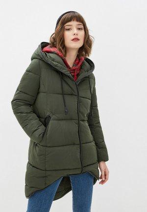 Куртка утепленная Jayloucy. Цвет: зеленый
