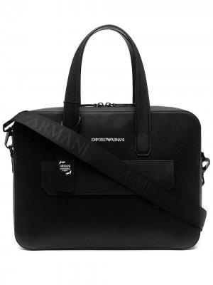 Портфель с логотипом Emporio Armani. Цвет: черный