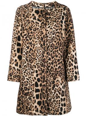 Leopard print square neck coat Clips. Цвет: коричневый