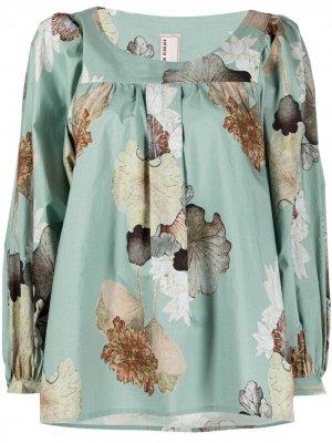 Блузка Oberteil с цветочным принтом Antonio Marras. Цвет: зеленый
