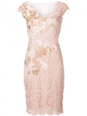 Кружевное платье с V-образным вырезом Olvi´S. Цвет: розовый