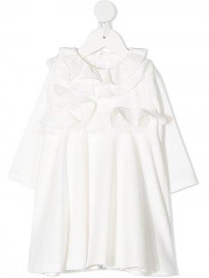 Длинное платье с оборками Il Gufo. Цвет: белый