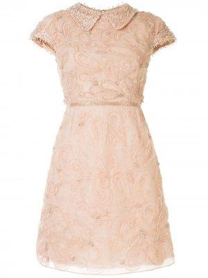 Коктейльное платье с рукавами кап Marchesa. Цвет: нейтральные цвета
