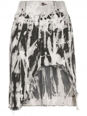 Джинсовая юбка с бахромой Diesel. Цвет: серый