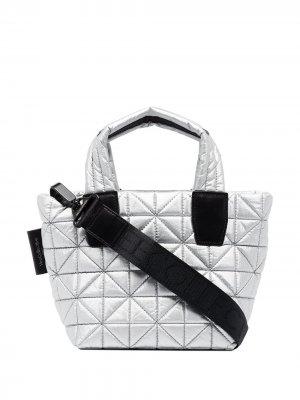 Стеганая маленькая сумка-тоут VeeCollective. Цвет: серебристый