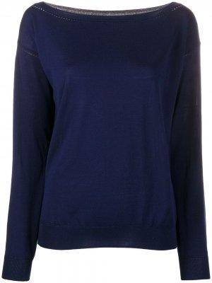 Пуловер с вырезом-лодочкой и перфорацией P.A.R.O.S.H.. Цвет: синий