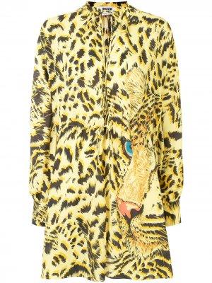 Платье-рубашка с графичным принтом и завязками MSGM. Цвет: желтый