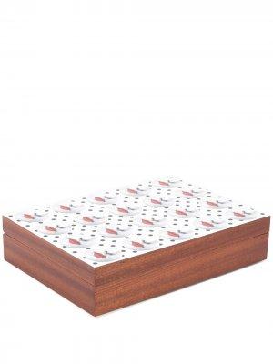 Коробка для хранения с графичным принтом Fornasetti. Цвет: коричневый
