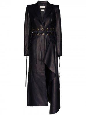 Пальто с бахромой и вырезами Alexander McQueen. Цвет: синий