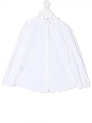 Рубашка на пуговицах с оборками воротнике Il Gufo. Цвет: белый