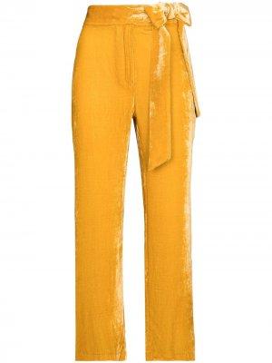 Укороченные бархатные брюки Gemma USISI SISTER. Цвет: желтый