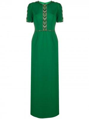 Платье с узором шеврон из бусин Jenny Packham. Цвет: зеленый