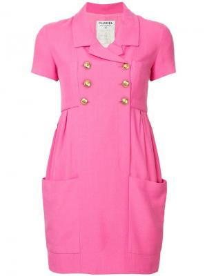 Двубортное приталенное платье Chanel Vintage. Цвет: розовый
