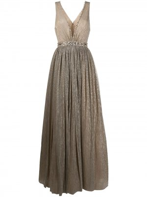 Платье с глубоким вырезом и эффектом металлик Jenny Packham. Цвет: нейтральные цвета