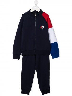 Спортивный костюм в стиле колор-блок Cesare Paciotti 4Us Kids. Цвет: синий