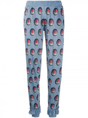Укороченные пижамные брюки с принтом Viktor & Rolf. Цвет: синий